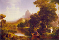 Oil painting Thomas cole - The Voyage of Life Youth angels in landscape canvas