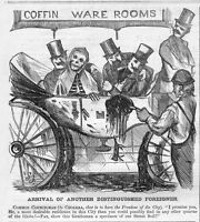 SKELETON DEATH CHOLERA COFFIN WARE ROOMS ARRIVAL OF ANOTHER FOREIGNER COFFIN