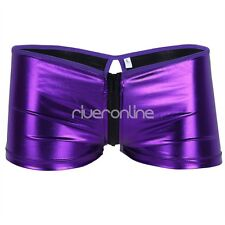 Mens Patent Leather Zipper Underwear Boxer Briefs Wetlook Shorts Swimwear Trunk