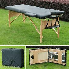 "Soozier 2.5"" Pad 91"" Portable Reiki Massage Table w/ Carry Bag Wood Frame BK"