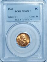 1930 PCGS MS67RD Red Lincoln Wheat Cent