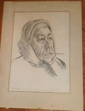 """""""Frieda"""", Old Woman with Kerchief Drawing-1960s-I.L. Winarsky"""