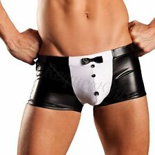 Mens Lingerie Leather Shorts Trim Bowknot Buttons G-string Thongs Boxers Briefs