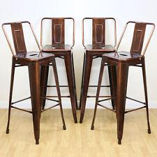 More details for sale set of 4 copper stools & back rests industrial/metal breakfast bar #257