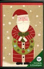 Santa Claus Vintage Look Wreath Tan Christmas Card Set 14 & Red Envelopes New