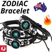 🔥 ZODIAC Horoscope BRACELET Astrology Charm Wrist Mens Womens Leather Gift AUS