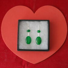 Beautiful Earrings With 2 Emerald Gemstone 4 Cm.Long + 925 Silver Hooks In Box