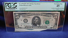 1977 $5 (*Star*Error) Federal Reserve Note, Pre-Back Print Foldover Pcgs grade