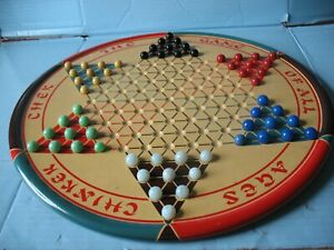 Chinese Checkers Metal Round Board Game With Marbles