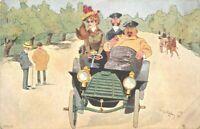 Auto Comic Humor Chauffeur Well Dressed Woman C-1910 Postcard 1540