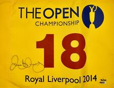 AUTOGRAPHED UDA LE100 RORY MCILROY 2014 THE OPEN LIVERPOOL PIN FLAG