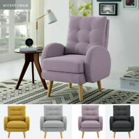 4 Colors Wingback Arm Accent Chair Single Sofa For Living Room W/ Upholstered US