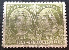 Canada 1897 $5.00 olive green stamp vfu