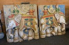 More details for large pair of 19th century antique carved stone wall frieze - elephants - indian