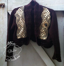 Upcycled OOAK Chocolate Brown Mori Girl Cardigan Crocheted Lace Size 14