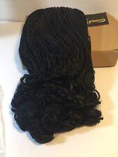 "16"" Micro Million Braids Lace Front Wig Wavy Ends Black #1B"