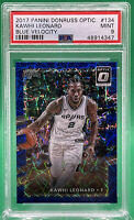2017 PANINI DONRUSS OPTIC KAWHI LEONARD #134 Blue Velocity 🔥 PSA 9 🔥 Clippers