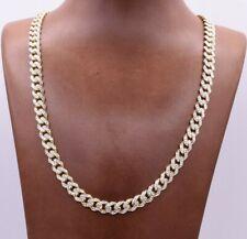 7.5mm Miami Cuban Royal Chain Necklace Diamond Cut Real 10K Yellow White Gold