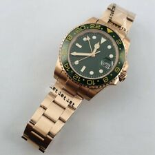 40mm sterile green dial sapphire crystal luminous rose gold automatic men watch