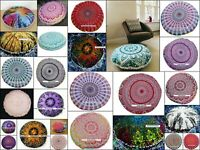 Round Floor Pillow Cotton Beautiful Design Cushion Cover Chair Stool Cover Art