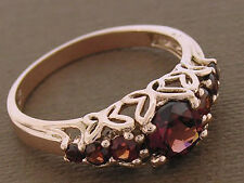 R173 Genuine 9K Solid Rose Gold Natural Garnet Ring Anniversary Butterfly size P