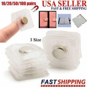 10/20/100 Pairs Invisible Hidden Sew Magnetic Snaps Magnet Button Purse Closure