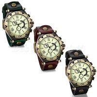 Vintage Mens Large Dial Leather Band Roman Numerals Quartz Analog Wrist Watch
