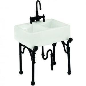 Small All-White Kitchen Sink Reutter 1.740/0 DOLLHOUSE Miniature