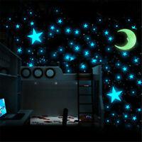 Moon & 100 Star Night Light Glow In The Dark Wall Decal Ceiling Sticker Decor
