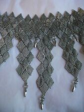Beaded Choker Necklace Metallic Diamond Shape Covers Chest Handmade USA