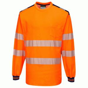 Portwest T185 PW3 Hi-Vis Long Sleeve Work T-Shirt - Yellow/Black