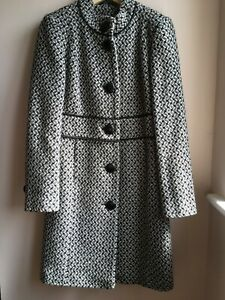 Womens Wool Blend Coat Size12 - Principles - Cream/Black In Good conditions