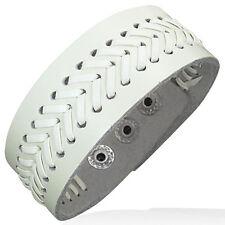 Genuine White Leather Alloy Weave Snap Wristband Unisex Bracelet