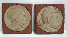 Antique Tile Set-Abraham Lincoln & Mary Todd Lincoln Dated 1883