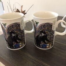 2 1991 Dunoon Cat Christmas Window Coffee Mugs