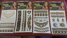 Metallic Tattoo Lot of 4 styles (4 sheets total) temporary waterproof NEW! Ja-ru