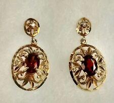 Vintage 10K Yellow Gold Filigree Oval Garnet Diamond Accent Dangle Earrings 2.69
