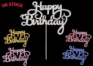 Happy Birthday Cake Topper Cupcake Glitter Sparkle Dessert Party Decoration Sign