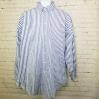 Nautica Mens Shirt Size 2x 18 34/35 Button Down Long Sleeve Blue Striped Pocket