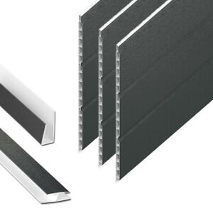 Anthracite Grey Hollow Soffit Board / UPVC Plastic Panel Cladding - 5m Lengths