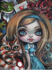 Alice in Wonderland Art PRINT Cheshire Cat zombie big eyes by Liquid Acid Eyes