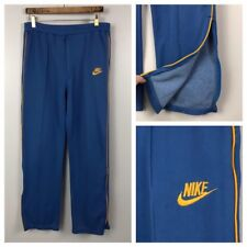 Vintage 1970s 1980s Blue with Gold Stripe Nike Orange Swoosh Track Pants 36x30