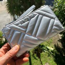 Michael Kors Peyton Large Double Zip Wristlet Clutch Quilted Siver 35h9sp6w3i