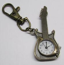 Bronze Retro Pocket GUITAR Quartz Watch KEY CHAIN Ring Keychain NEW