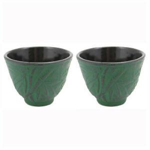 Set of 2 Japanese Chinese Bamboo Cast Iron Teacup 3.5 fl.oz Black Burgundy Green