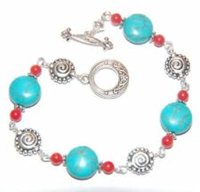 Coral Stone Tibetan Silver Costume Bracelets