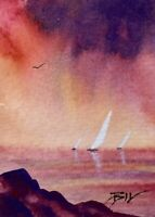 ACEO ATC original art miniature painting ' White Sails ' by Bill Lupton