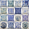 """18"""" Blue And White Cotton linen Painting Pillow Case Cushion Cover Home Décor"""