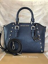 NWT MICHAEL KORS PEBBLED LEATHER CIARA STUDDED MEDIUM MESSENGER BAG IN NAVY