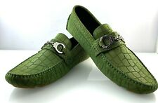 db66b9d6c6b JIMMY CHOO MENS SUEDE LEATHER GREEN HANDCUFF LOAFER SHOES size 42